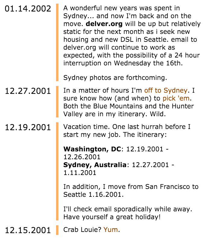 What my blog looked like in 2001. It was on the delver.org domain back then.